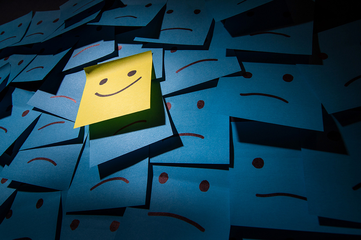 Positive and negative smiley Post it